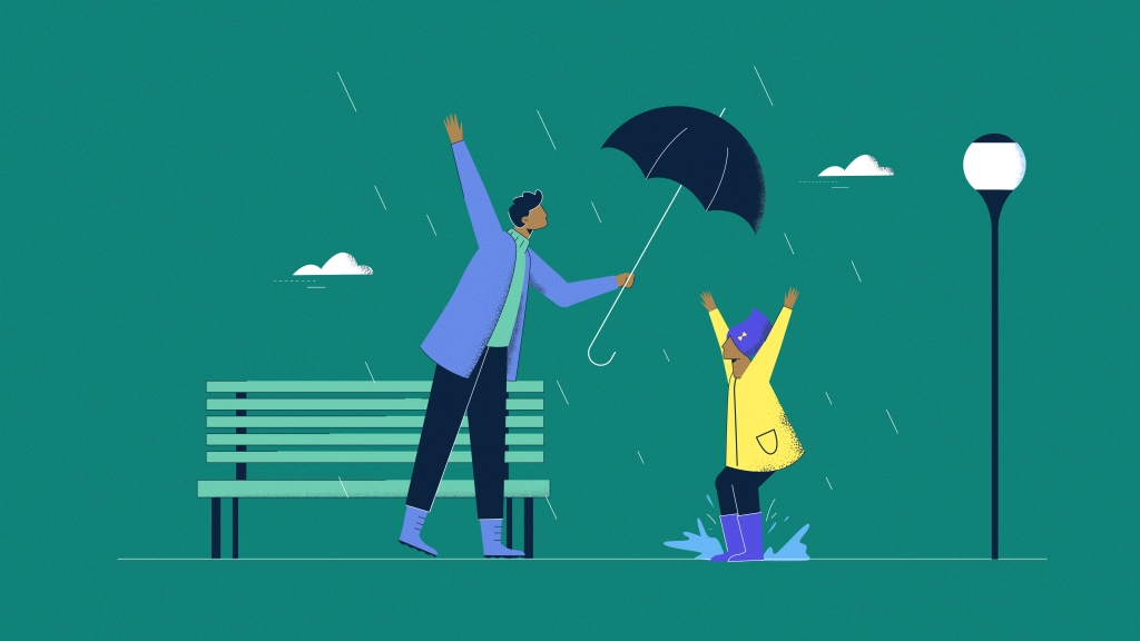 Illustration of man covering a woman with his umbrella during the rain