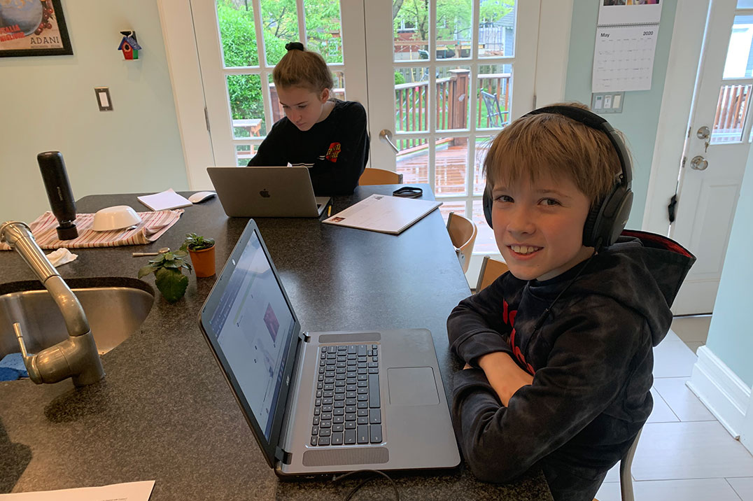Krinstina's sons doing virtual school