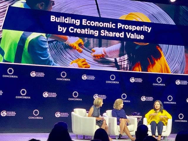 Villar at the 2019 Concordia Summit with Liz Schrayer