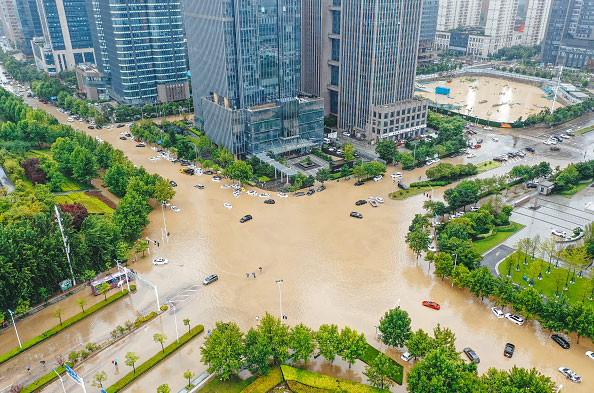 aerial view of the flooded streets in China