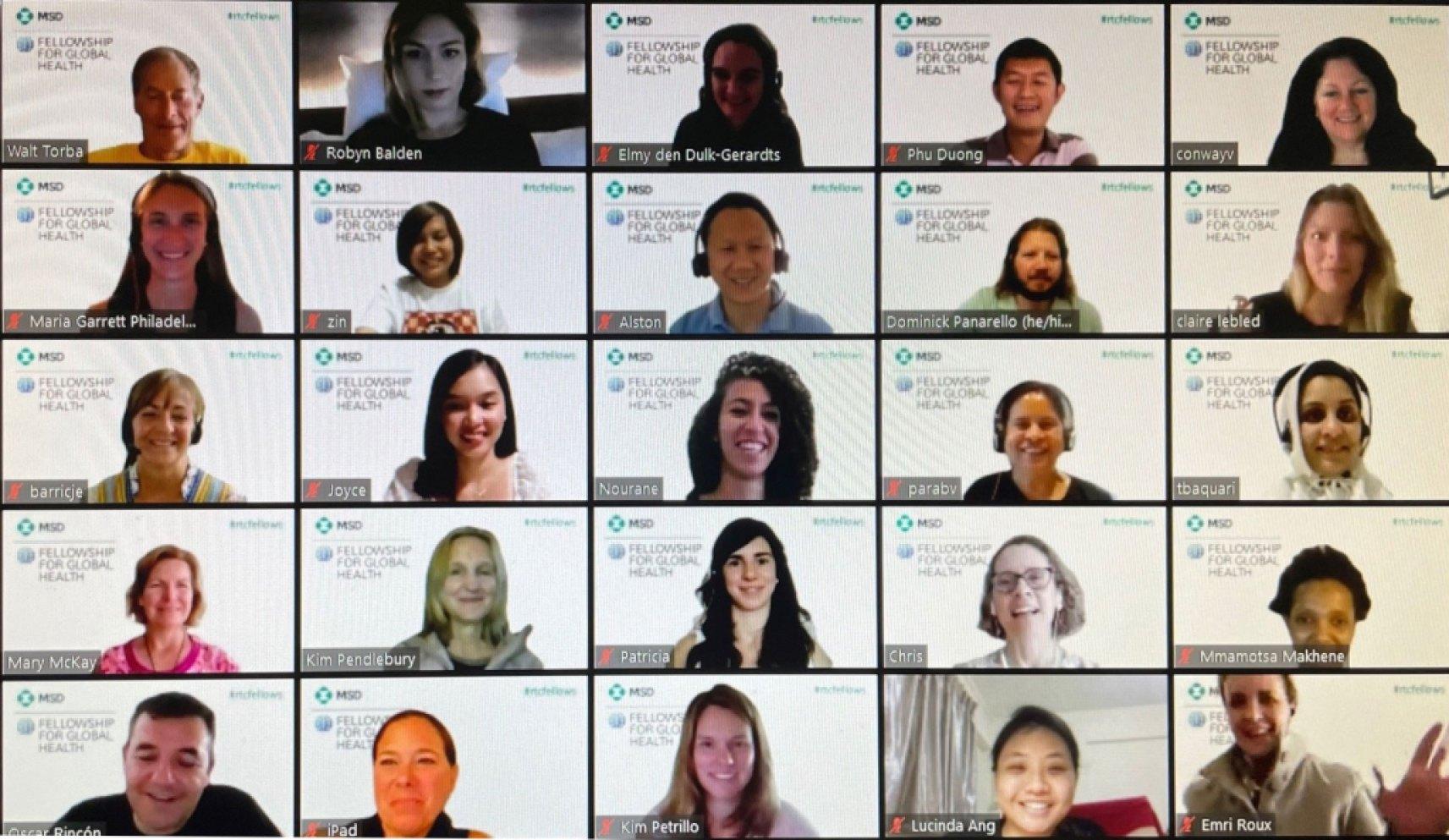 a global health fellows zoom call screen shot