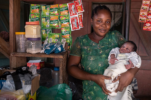 mother and baby at the market